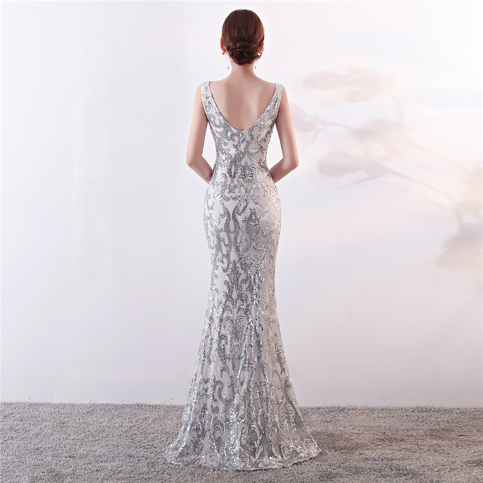 Image 3 - It's Yiiya Evening dresses Sequined V neck Zipper back Mermaid Party Gowns Royal Backless Floor length Trumpet Prom dresses C181-in Evening Dresses from Weddings & Events