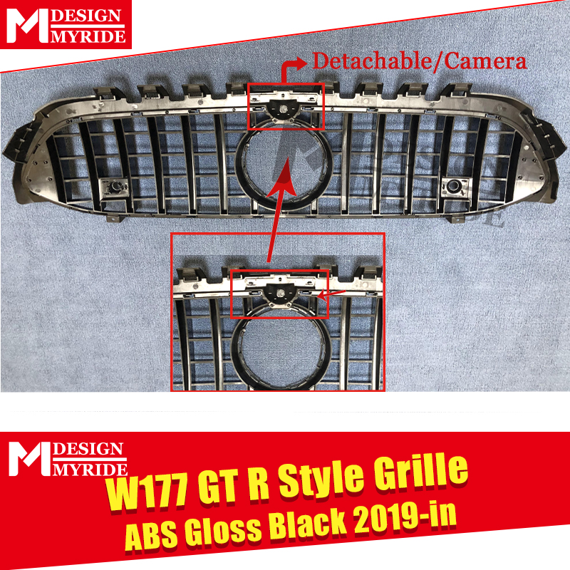 W177 GTS style grille ABS Gloss Black With Camera Front Bumper Mesh For W177 Sports A180 A200 A250 grills Without Emblem 2019 in Racing Grills from Automobiles Motorcycles