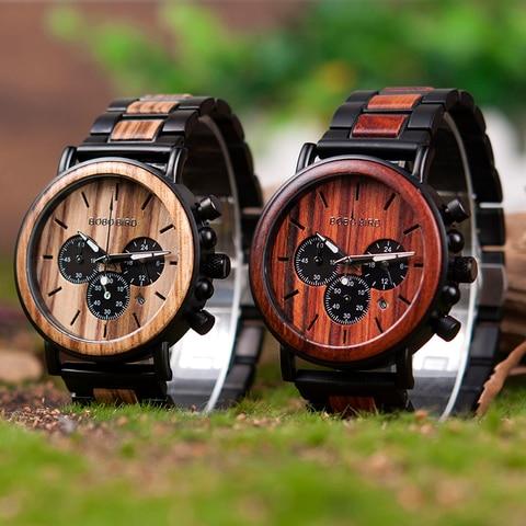 relogio Wood Watches  BOBO BIRD Men Watch Date Display Luxury Golden Stylish Wooden and Metal Quartz Wristwatch Wood gift box Multan