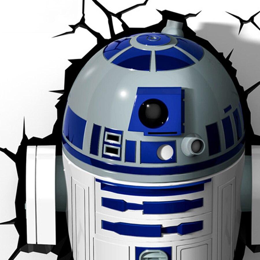 Creative Star Wars Robot R2 D2 Shape 3D Night Lights LED Wall ...