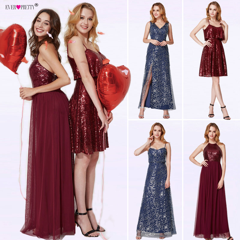 Sequined Short   Bridesmaid     Dresses   Ever Pretty EP04054 Women Fashion Sexy A-line Burgundy Wedding Guest Party Occasion   Dresses