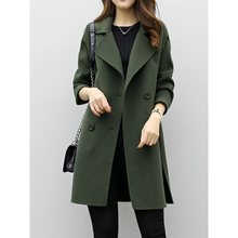 Women Woolen Coats Casual Elegant Black Vintage Korean Style Straight Notched Lapel Solid Spring Female Fashion Tops Overcoats