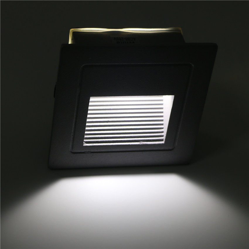 10PCS 3W led Stair Light with Embedded box Aluminum Step Lights Outdoor Waterproof IP65 LED Wall Lamp Footlight PRO-04