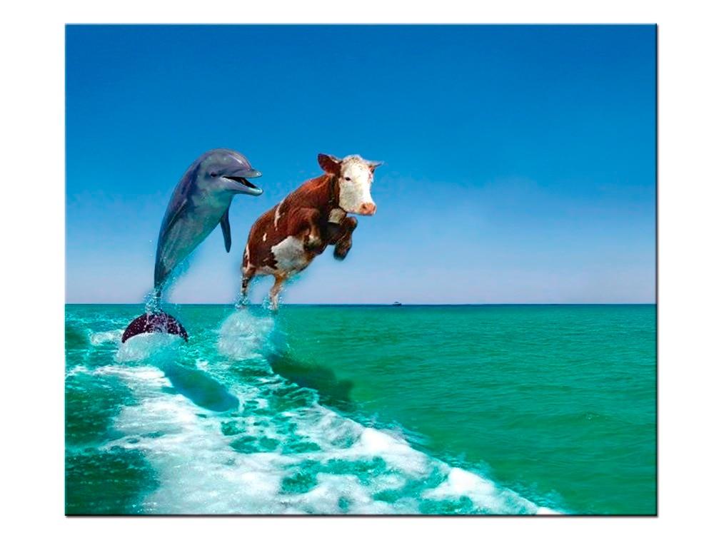1 шт. холст картины напечатаны дельфины и молочные cowswall Art Холст модульная гостиная спальня Home Decor