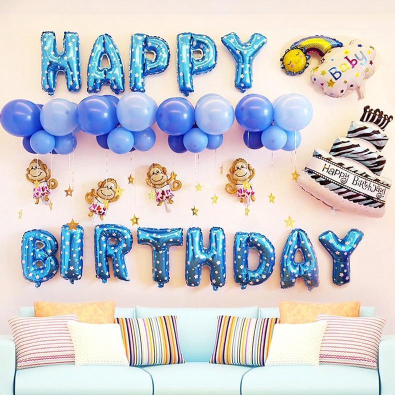 Happy Birthday Letter Foil Balloons Rainbow Boy Girl
