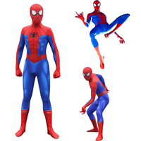 Spider Man Into the Spider Verse Peter Benjamin Parke Cosplay Costume Zentai Spiderman Superhero Pattern Bodysuit Suit Jumpsuits