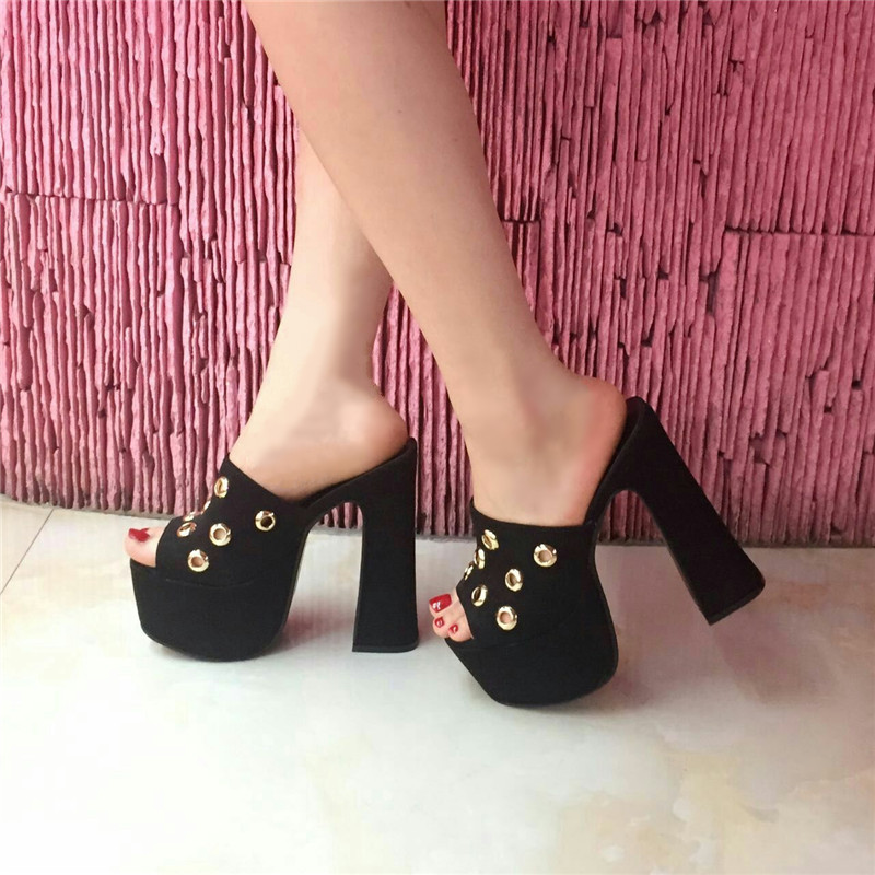 16CM thick with white sandals waterproof heavy bottomed shoes high with fish head hollow sandals