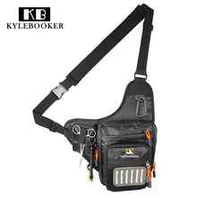Fly Fishing Sling Bag Multi Function Waist Pack Tackle Shoulder  with Patch