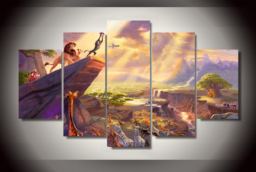 5Pcs NO Frame Printed lion king painting thomas Painting on canvas ...