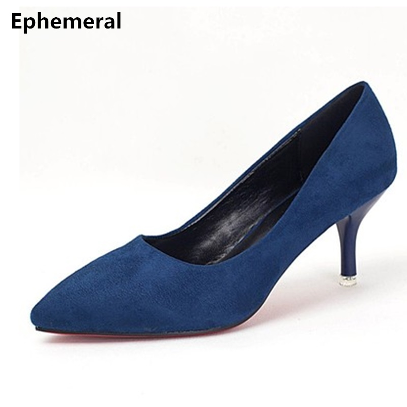 Lady's Shallow Mouth Pointed toe Pumps 5CM Heels Thin Flock Shoes Mujer Zapatos Blue Grey Black Plus size 41 9 33 Stiletto Women burgundy gray saphire blue pink women dress party career work shoes flock shallow mouth stiletto thin high heel pumps