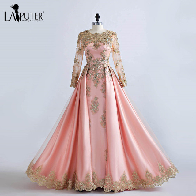Real Photos Long Sleeve Gold Lace Crystal Beaded Luxury Pink Evening Dresses  2017 Dubai Arabic A-line Formal Party Prom Dress 19077d9e6b16