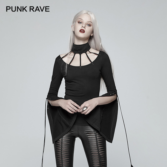 PUNK RAVE New Women Gothic Bat Messenger Knitted Long Sleeves T-Shirt Punk Stretch-Knit Tees Metal Cross Tops Rope Adorned Shirt