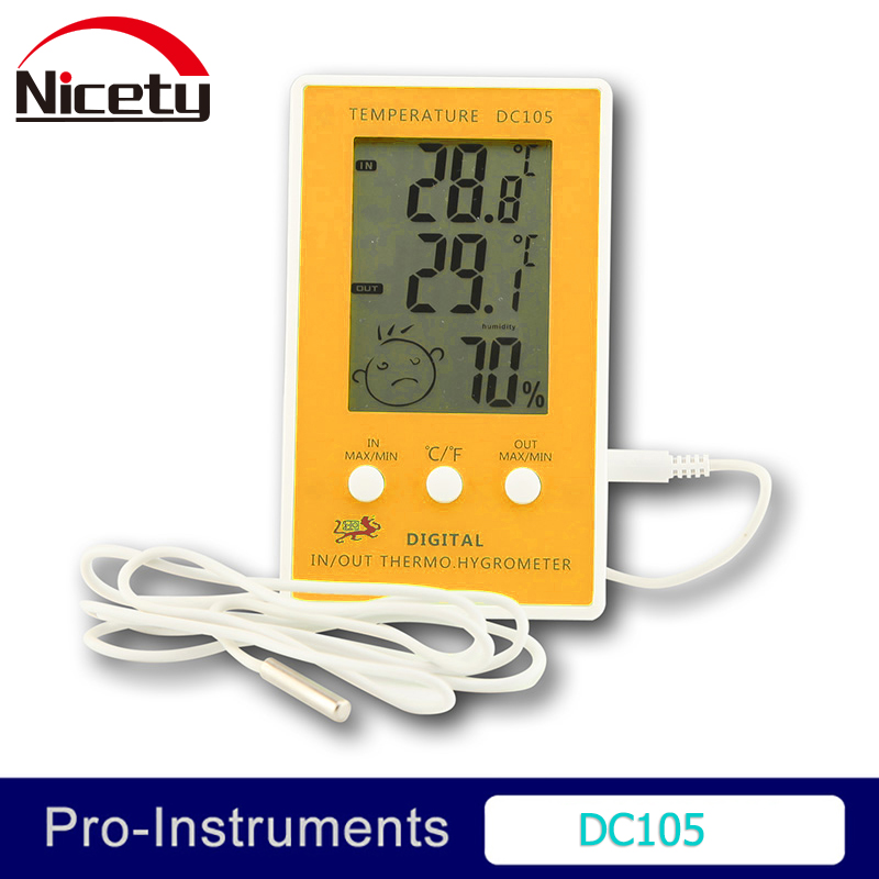 Nicety DC105 Electronic digital LCD temperature InDoor OutDoor thermometer humidity meter Max Min Comfort Display Null digital thermometer hygrometer temperature humidity meter alarm clock max min value comfort level display