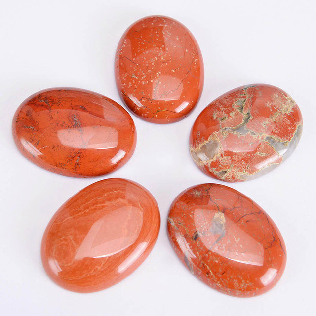 Oval Cabochon Beads Natural Red Jaspers Gem Stone Healing Jewelry Fittings for Women Men DIY Handcrafted Ring Necklace J001