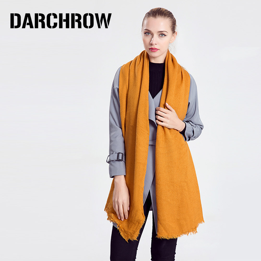 DARCHROW Luxury Winter   Scarf   Women Thicken Warm   Scarves   Wool Cashmere   Scarf     Wrap   Female Shawl Girl Pashmia Hijab Accessories