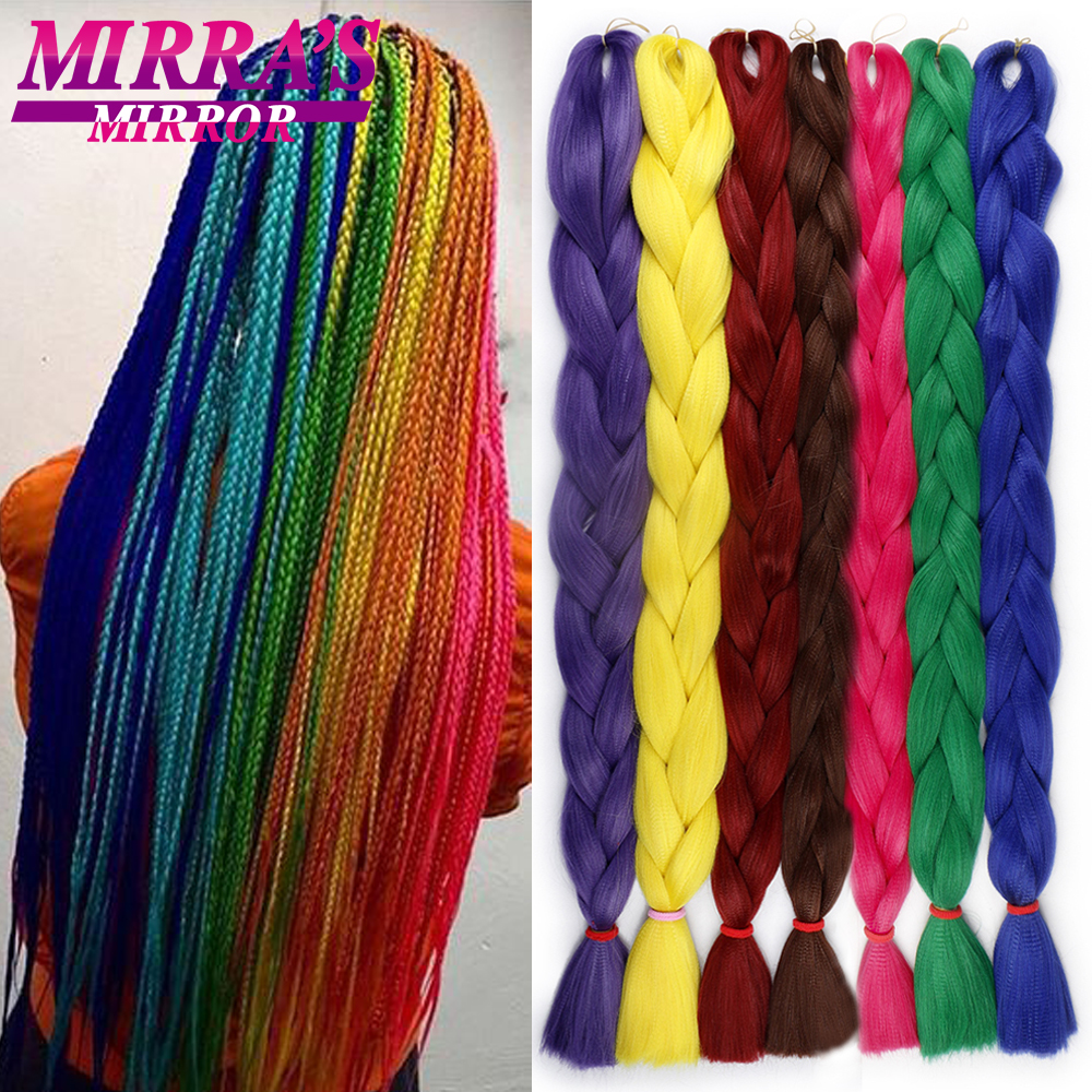 Mirra's Mirror Braiding Hair Blue Jumbo Braid Hair Extensions Yellow Synthetic Crochet Hair For Braids Red 82 Inches 165g/Pack