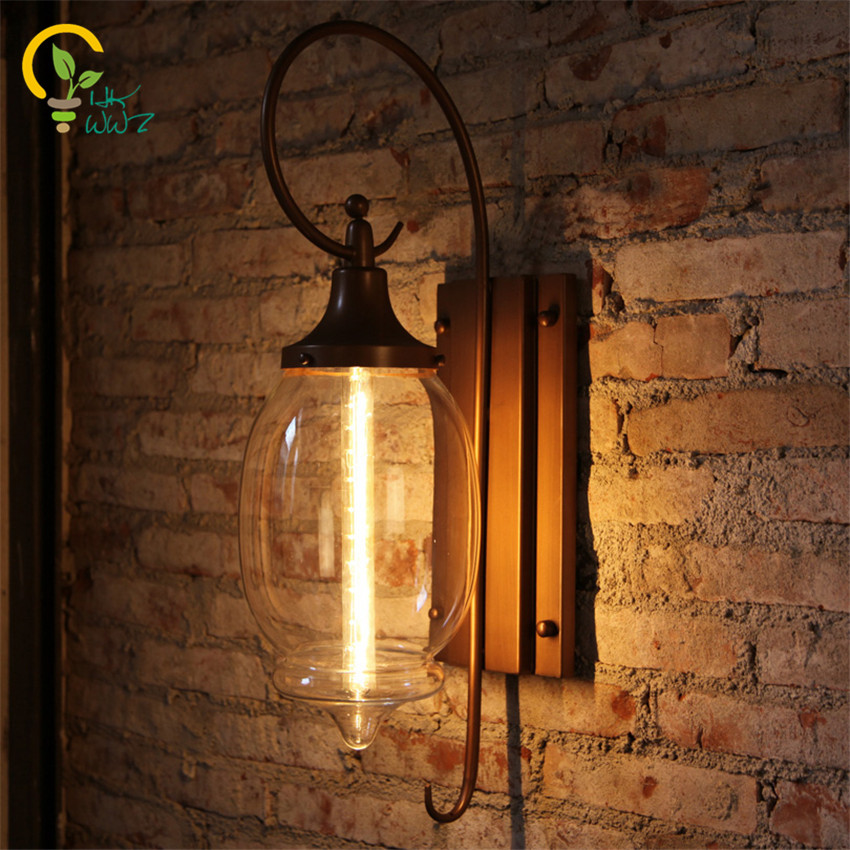 Lampe de mur LED de flûte créative de Style américain, rétro Edison applique murale lampe de cour imperméable grande lampe de balcon de couloir en verre