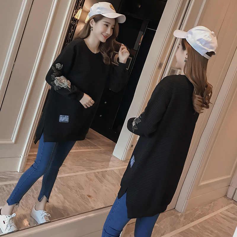 2018 Мода для беременных Для женщин; сезон осень-зима футболка с длинными рукавами свитер с круглым воротником модные беременности и родам вязаное платье Повседневное пуловеры