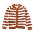 Listras moda Button-frente Da Criança Crianças Cardigan Unisex Menina Menino Camisola de Malha Primavera/Outono Outwear Tops MA02MY
