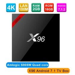 جديد! الأصلي X96 تي في بوكس أندرويد 7.1 Amlogic S905W رباعية النواة 2 جيجابايت 16 جيجابايت مجموعة أعلى مربع 2.4 جيجا هرتز WiFi HDR10 17.4 مشغل الوسائط الذكية