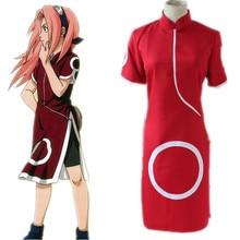 Наруто Сакура Харуно 1 Аниме Косплей Костюм красный платье юбка + номер трека