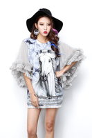 2017 Fashion Horse Cartoon Printed Mesh Sleeve Dress Sexy Half Sleeve Tassels Party Short Dress Club
