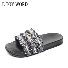 E TOY WORD Beach String Bead Slippers 2019 Flat with Slides Casual Platform Shoes Woman Slip On Bling Women 36-41