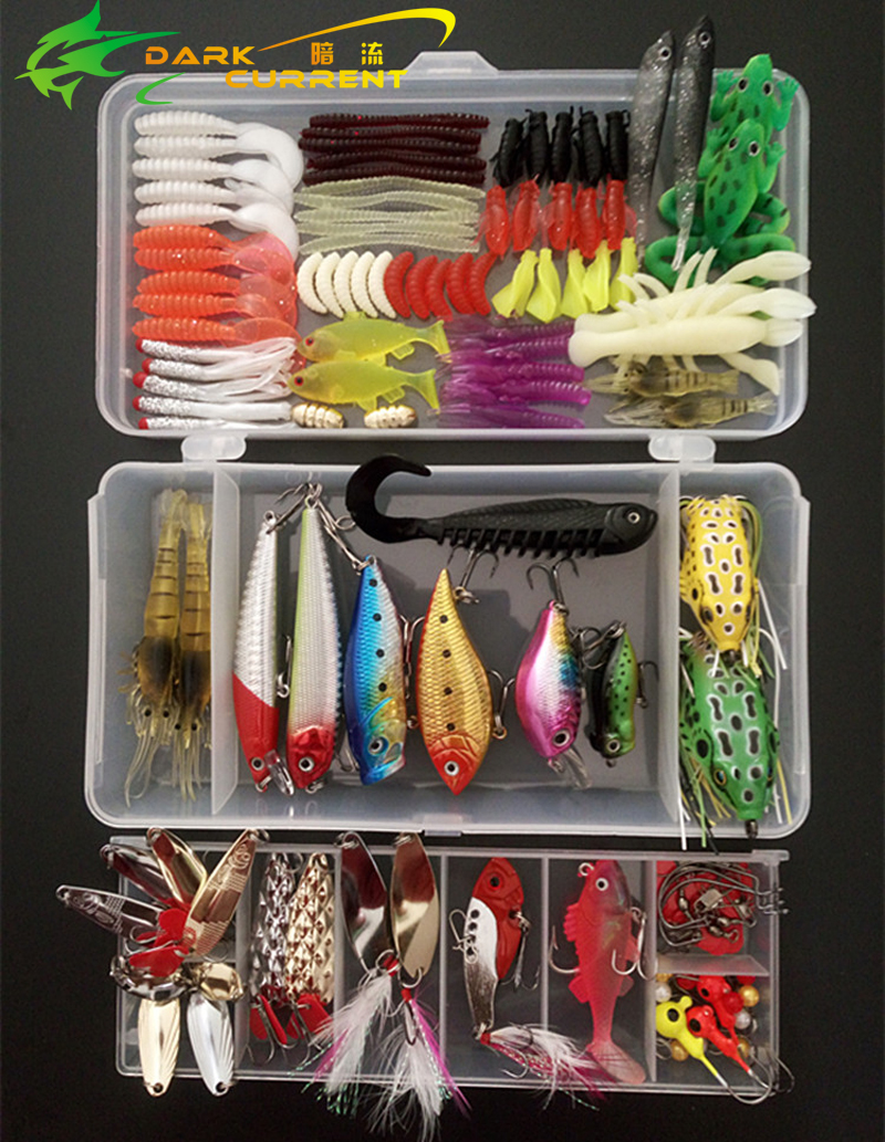 140PC/lot Fishing Lure Popper Minnow Vib Spoon Bait Kit Jig Head Metal Lure Soft Bait Set Lure Wobbler Frog Tackle Accesseories goture 96pcs fishing lure kit minnow popper spinner jig heads offset worms hook swivels metal spoon with fishing tackle box