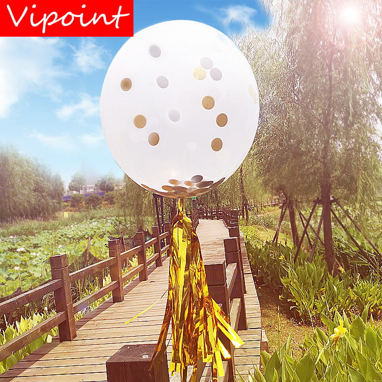 VIPOINT PARTY 18inch pink balck gold paper scraps latex ballon wedding event christmas halloween festival birthday party HY 349 in Ballons Accessories from Home Garden