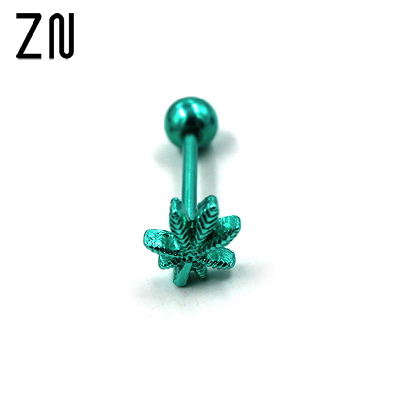 1Pcs New Fashion Stainless Steel Ear Nail Rings Green Leaves Tongue Piercing Tongue Ring Body Piercing Jewelry