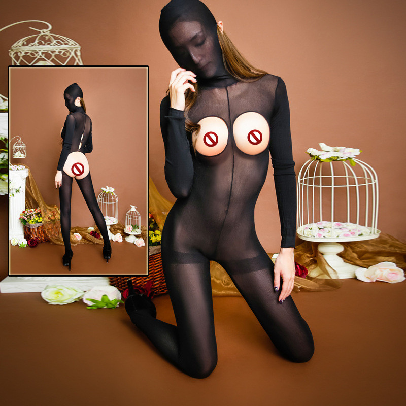 New sexy lingerie women perspective Luru backless Masked stockings Long sleeve underwear transparent Siamese SM dress