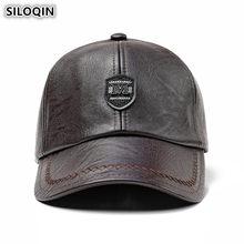 SILOQIN Winter Men s PU Baseball Cap Windproof Thick Snapback Caps Warm Earmuffs  Hat Adjustable Head Size de27d18f9a75