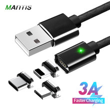 MANTIS 3A Type C Magnetic USB Cable 1M Fast Charging for iPhone XR XS Max Micro USB Magnet Charger Phone Data Cables for Xiaomi(China)