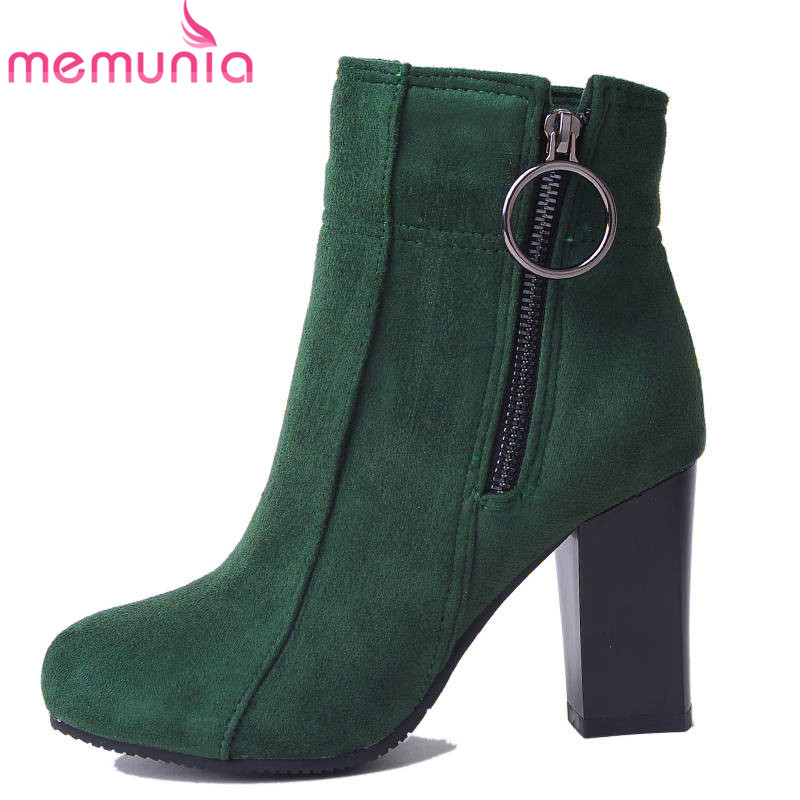 цена MEMUNIA 2018 wholesale big size 33-47 ankle boots for women flock zipper fashion autumn boots square high heels shoes woman