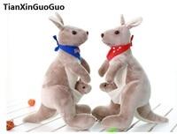 Büyük 45 cm eşarp bayrak ile peluş oyuncak yumuşak dolması oyuncak Avustralya kanguru bebek doğum günü hediyesi h2009