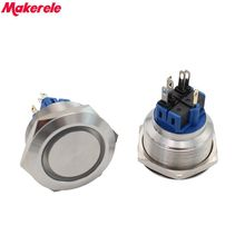 цена на 30mm DC12V Green LED Momentary Stainless Steel Push Button Switch 1NO 1NC IP67 Makerele