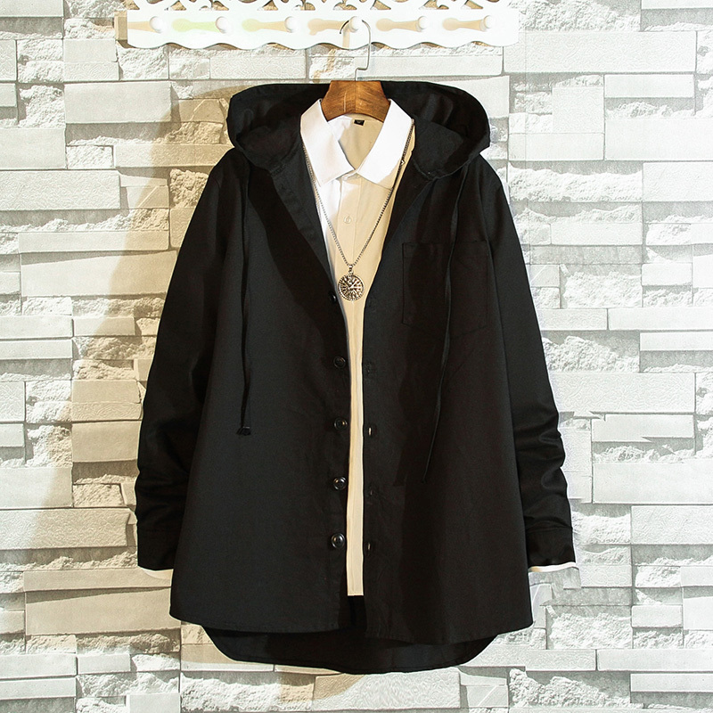 2019 autumn The new listing Easy Solid Color Hat Windbreaker Loose Coat Male Long Recommend Fashion Youthfulness size M-5XL