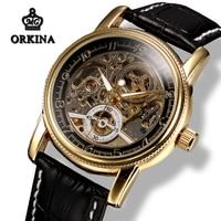 Mg. orkina Mens Self winding Skeleton Gold Power Automatische Horloge Mannen Zwart Lederen Lichtgevende Transparante Mechanische Horloges