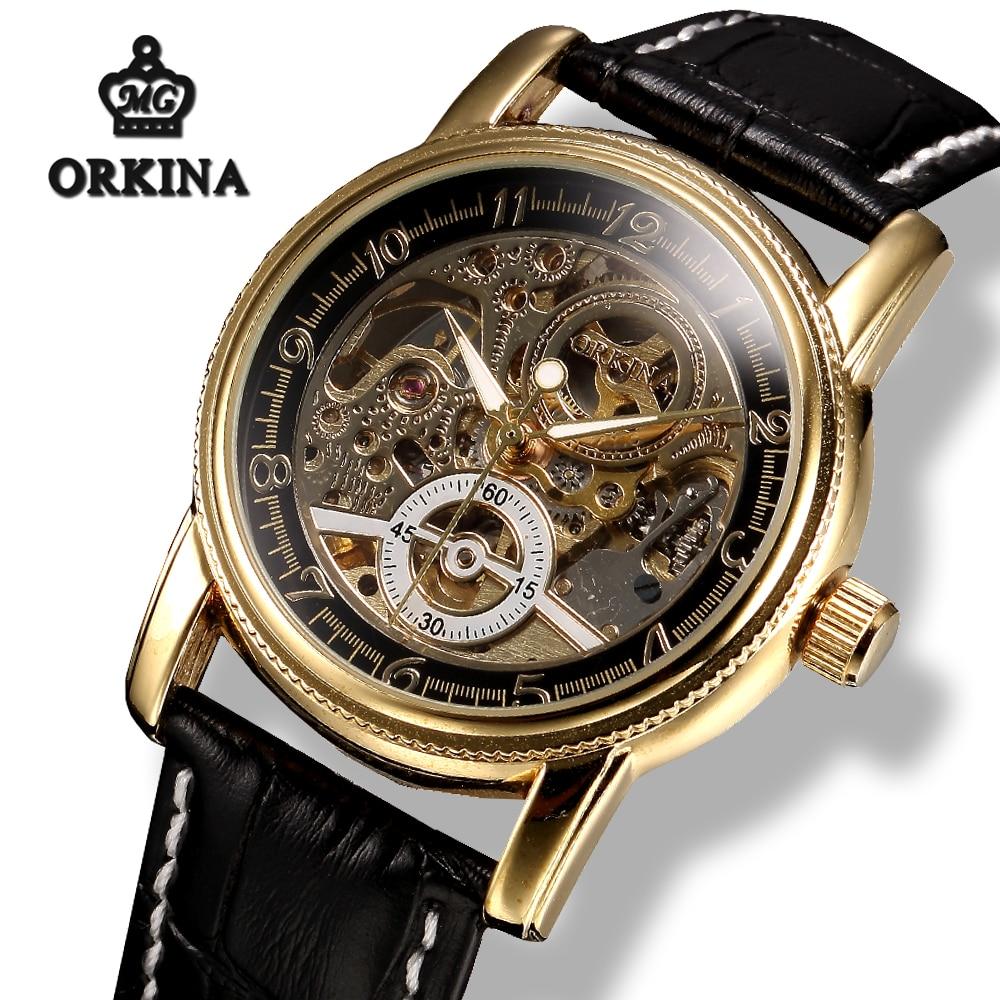 Automatic Luxury Gold Skeleton Mechanical Watch Men Mg.orkina Black Leather Mens Luminous Wrist Watches Relogio Masculino Hot