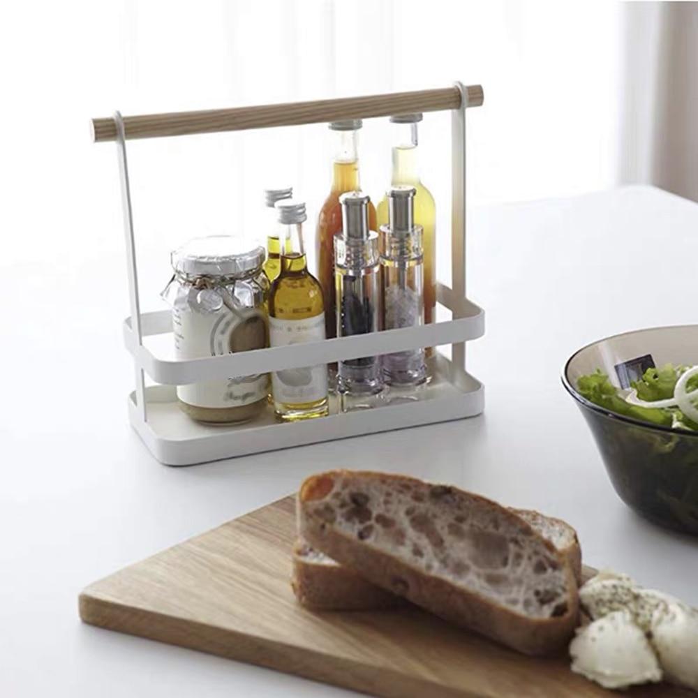 Permalink to Portable Spice Rack Food Kitchen Cabinet Storage Organizer Kitchen Goods Storage Organizer Shelf with Wood Handle for kitchen