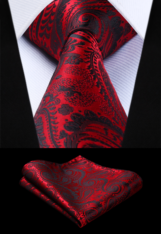 Woven Men Tie Red Black Paisley Necktie Handkerchief Set# TP942R8S  Party Wedding Classic Pocket Square Tie