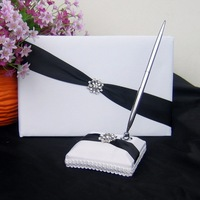Free Shipping black Ribbons Shimmering Twilight Wedding Guestbook and Pen Set 1025