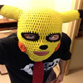 New Handmade Funny Animal Cap Novelty Pikachu Hats Gag Party Masks Beanies Men's Women's Halloween Birthday Cool Boyfriend Gifts