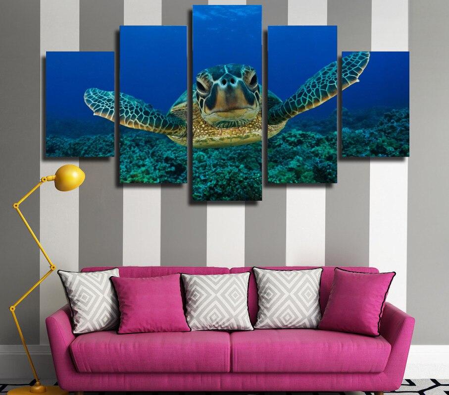 5 Panel/Set Deep Sea Turtles Wall Art Picture Modern Home