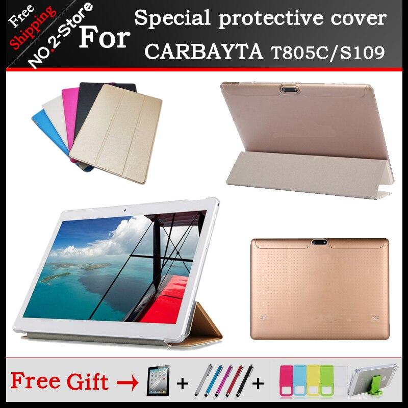 Mode Ultra mince 3 fold Folio en cuir PU stand housse Pour CARBAYTA T805C S109 10 pouces tablet, Multi-couleur pour choisir + cadeau