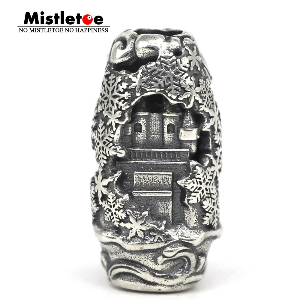 Mistletoe 925 Sterling Silver Earth Element Winter castle Pendant Charm Bead European Jewelry