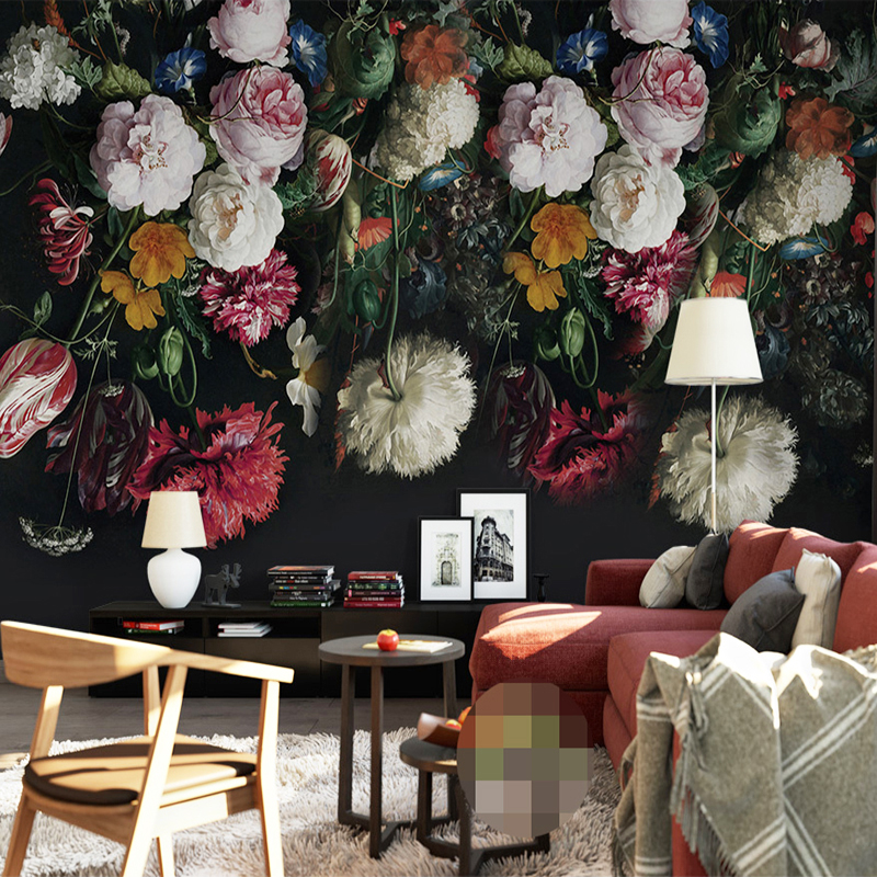 Custom Any Size 3D Wall Murals Wallpaper Retro Hand Painted Floral Wall Painting Living Room Bedroom Home Mural Wallpaper Flower custom mural wallpaper 3d non woven black and white flower hand painted paintings living room sofa tv 3d wall murals wallpaper
