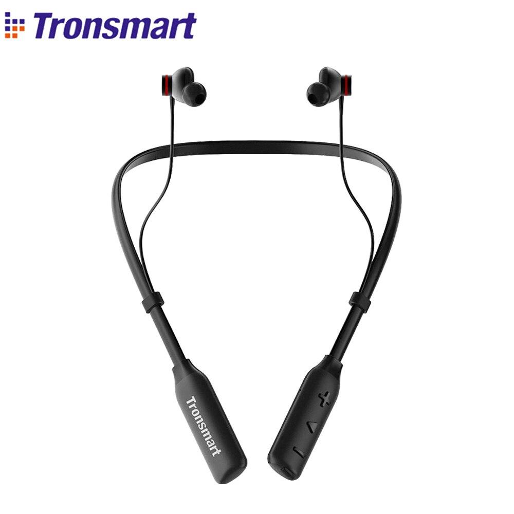 O Transporte da gota Tronsmart IPX45 S2 Além de Fones de Ouvido Bluetooth Cancelamento de Ruído Ativo Fones de Ouvido Sem Fio À Prova D' Água Superior Baixo