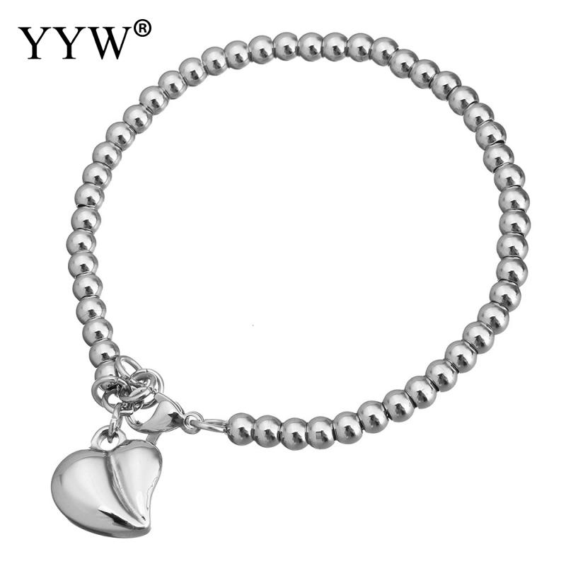 Stainless Steel Jewelry Bracelet Heart plated charm bracelet & for woman 13x14x6mm 4mm Sold Per Approx 7 Inch Strand