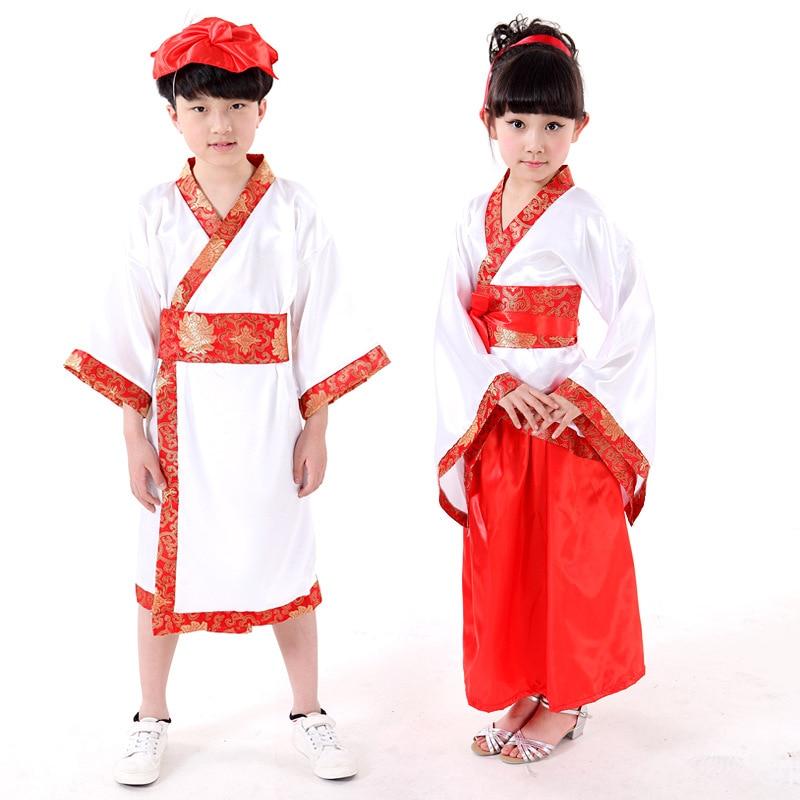 Free Shipping Kids Boys Girls Ancient Chinese Clothes Sinology San Zi Jing Nunnery Children Hanfu Stage Chorus Dancing Costume